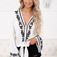 Freaky Friday Embroidered Top (Off White/Black)