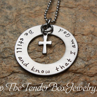 Free Shipping Personalized Be still and know that I am God inspirational cross necklace