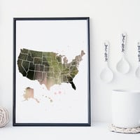 United States map watercolor art print, America map, office decor, home wall decor, apartment wall art, modern print,map poster, gift