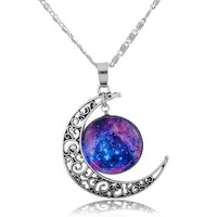 Encounter Blue Universe Hollow Crescent Moon Pendant Necklace Chain 48.5cm