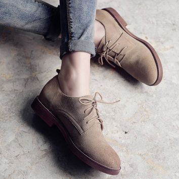 Teahoo Retro Oxford Shoes for Women 2018 Genuine Leather Shoes Woman Lace up Oxfords Flat Shoes Women Plus Size 9 10 11
