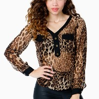 Wild Cat Contrast Blouse