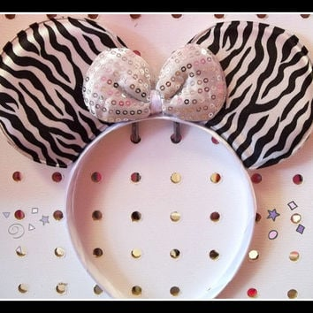 minnie mouse ears headband zebra animal print  with white sequin bow