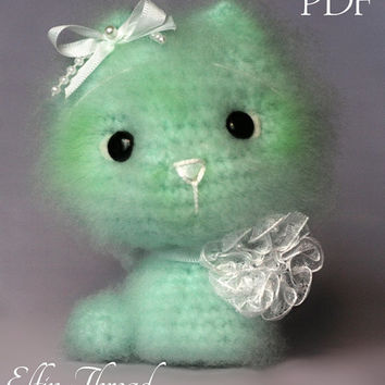Elfin Thread - Fuzzy Mini Kitty Amigurumi PDF Pattern (Cat crochet PDF pattern)