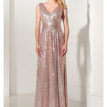 [86.99] In Stock Charming Sequin Lace V-neck Neckline Sheath Evening Dresses - dressilyme.com