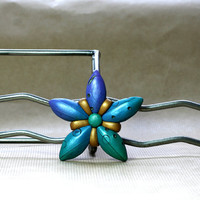 Peacock Flower Brooch, Indigo, Aqua and Purple Iridescent Petal Statement Jewelry, Art to Wear by JagnaB
