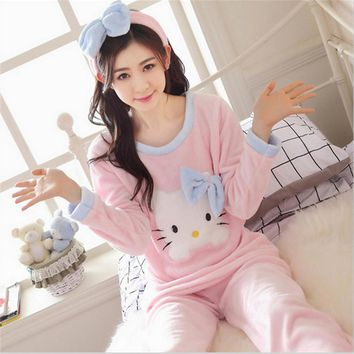 New Autumn winter women pajamas lovely Flannel Home clothing Round neck long sleeve Cartoon characters Hello Kitty sleepwear