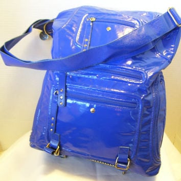 Clearance Additional 33% Off Women's Handbag // Purse  Shiny Royal Blue By LuLu Mail Pouch Carry All Design Steampunk Boho School Vacation