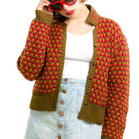 Vintage 90's Pumpkin Spice Cardigan - One Size Fits Many