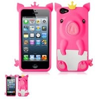 IPhone 5 Hot Pink 3D Pig Cartoon Soft Rubber Silicone Skin Case