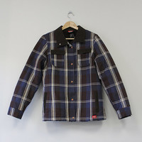 Collared Navy and Brown Fleece Lined Flannel Jacket Recycled Weasel Vintage Plaid Dickies Zip Closure Button Up