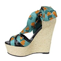 Gucci Women's Heartbeat Satin Tie Carolina Wedge Sandals 338686