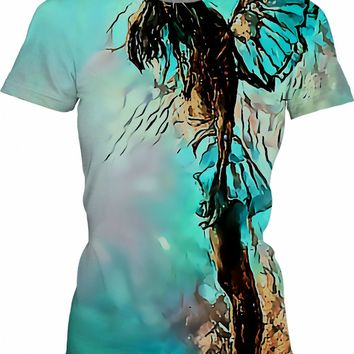Broken Angel, demonic girl tee shirt, scary winged fairy, abstract artwork