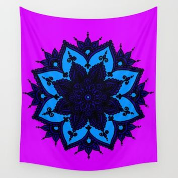 Kids Mandala Purple Wall Tapestry by Azima