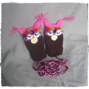 Owl Mittens - Thumbless - Crochet - 6 to 12 Months