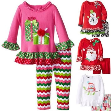 Children Baby Toddler Kids Girls Christmas Floral Bow Top Blouse Outfit Sets [8322980545]