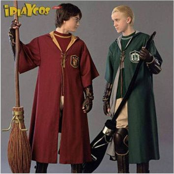 ac PEAPO2Q New Adult Robe Cloak Gryffindor Slytherin Quidditch Cosplay Costume for Harri Potter Cosplay