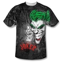 DC Comics Batman Joker Sprays the City Adult Sublimated White T-Shirt