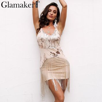 Glamaker sequin evening party dress Women mesh sexy tassel fringe dresses Female elegant christams mini summer dress vestidos