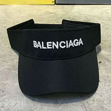 Balenciaga street street fashion embroidery LOGO visor tennis cap without overhead cap F-Great Me Store black