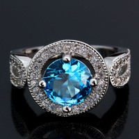 Sapphire Jewelry Wedding Rings For Woman Crystal Jewelry Anillos Aneis Aquamarine Ring Bijoux Bague Femme Bigiotteria Cristallo