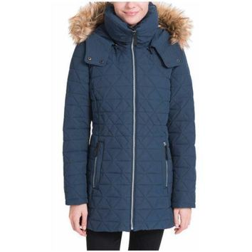 Marc New York Andrew Marc Women Quilted Faux NEW Down Jacket Hood NAVY  SMALL
