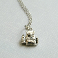 Small Backpack Knapsack Charm Necklace 3D silver plated pewter charm on a delicate silver plated chain