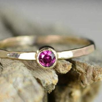 Classic Solid 14k Gold Ruby Ring