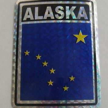 "Alaska Flag Reflective Sticker 3""x4"" Inches Adhesive Car Bumper Decal"