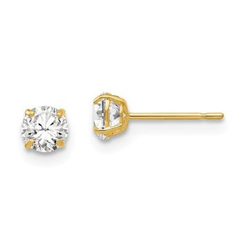 14k Yellow Gold 4mm Round CZ Post Earrings