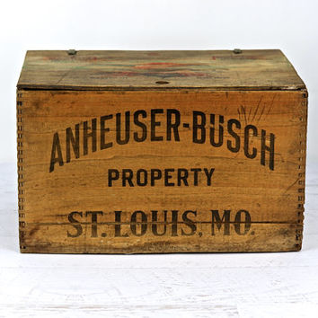 Vintage Anheuser-Busch Co. Wooden Crate Circa 1944, Beer Crate, Industrial