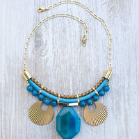 JeansLover Statement Blue bold Agate Necklace by Pardes
