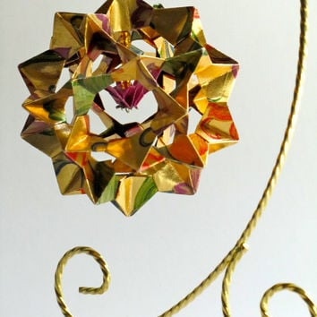 Ornament Home Décor 3D Modular Origami Handmade Of Gold Washi Paper with Flowers Print Design on an Ornament Stand. OOAK