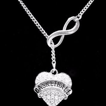 Infinity Crystal Basketball Sports Gift Lariat Charm Necklace