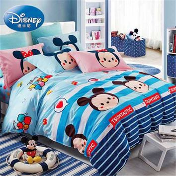 Disney  Cartoon children's dormitory bedding 100% cotton bed linen set for boys and girls 1.2m/1.5m bed fast shipping