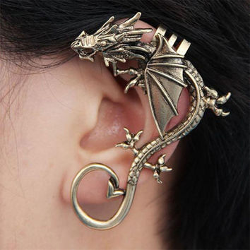 Best seller Diomedes Free Shipping New Fashion Gothic Punk Temptation Metal Dragon Bite Ear Cuff Wrap Clip Earring Apr7