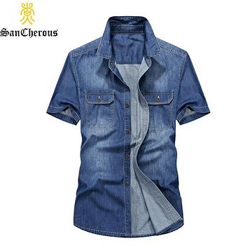 2019 Summer New Men's Denim Shirts Short Sleeve Turn-down Collar Casual Man Shirt Size S-3XL