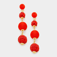 Red & Gold Double Thread Ball Fire Ball Earrings