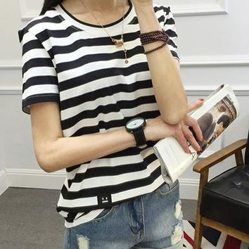 Womens Striped Shirt - Soft Knit / Button Down / Horizontal Stripes