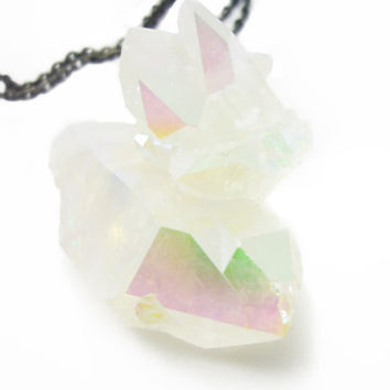 Angel Aura Opal Quartz Rainbow Crystal Druzy Necklace ICEBERG