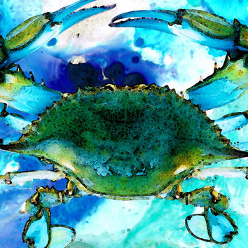 Blue Crab - Abstract Seafood Painting