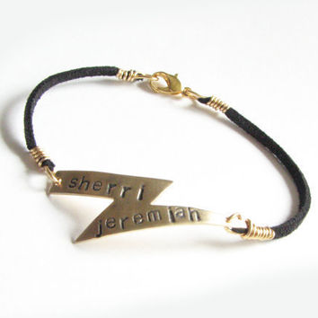 Lightning Bolt Bracelet Hand Stamped Black Suede Leather Personalized wire wrapped Jewelry
