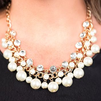 "Zi Collection - ""Idolize"" Gold Faux Pearl Rhinestone Necklace & Earring Set Paparazzi"