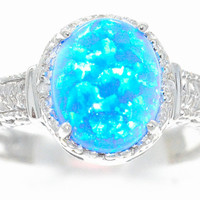 4 Carat Blue Opal Oval Diamond Ring .925 Sterling Silver Rhodium Finish