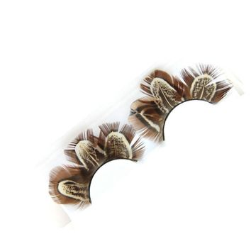 Colored Feather False Eyelashes Masquerade Stage Art Show Brown Makeup Fake Eyelashes Pure Handmade Cotton Stalk Soft Lashes