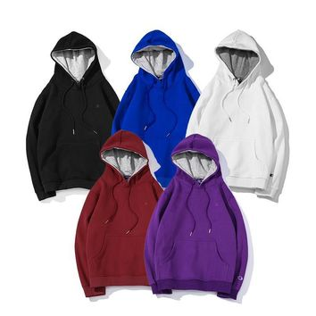 Champion autumn and winter new loose plus velvet couple tide brand long-sleeved hooded sweater