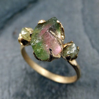 Raw Watermelon Tourmaline Diamond Gold Engagement Ring Wedding Ring Custom One Of a Kind Gemstone Ring Bespoke Three stone Ring byAngeline