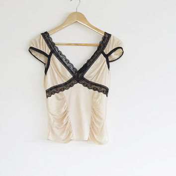 Vintage Crop Top , Express , Gold and Black , Lace , Burlesqe, Summer , 1990s, XS - S