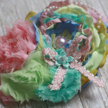 EASTER HEADBAND, ott, over the top, baby headband, toddler, girl, flower, chic,Spring, pastels, pink, green, yellow,blue sassy, boutique