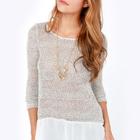 Frost at Sea Speckled Ivory Sweater Top